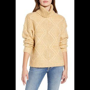 Caslon sweater chunky ribbed cable knit tan NWOT S
